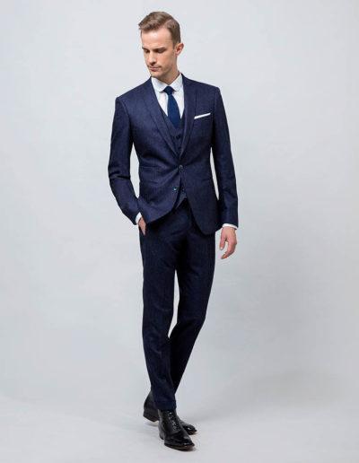samson sur mesure - Costume 3 pièces sur mesure en flanelle bleu indigo Basil - 1