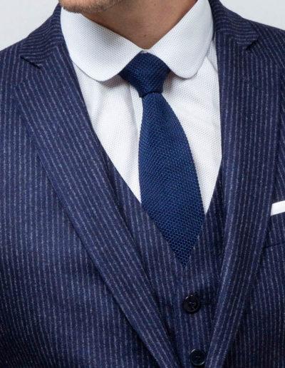 samson sur mesure - Costume 3 pièces sur mesure en flanelle bleu indigo Basil - 2