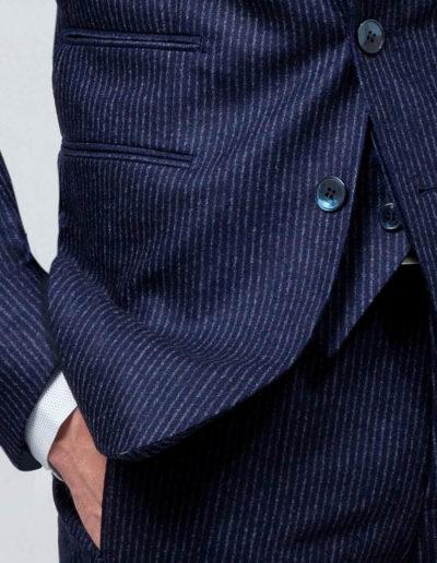 samson sur mesure - Costume 3 pièces sur mesure en flanelle bleu indigo Basil - 3