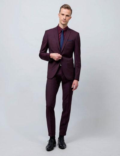 samson sur mesure - Costume sur mesure en toile super 120's bordeaux Brice - 1