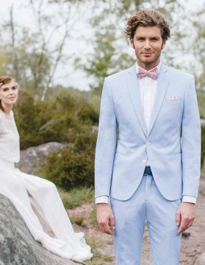 samson sur mesure - Mariage - Costume sur mesure en gabardine de coton ciel Palerme - 1