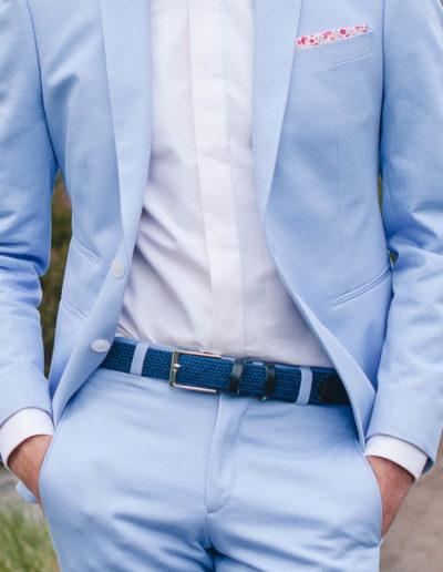 samson sur mesure - Mariage - Costume sur mesure en gabardine de coton ciel Palerme - 3