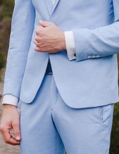 samson sur mesure - Mariage - Costume sur mesure en gabardine de coton ciel Palerme - 4