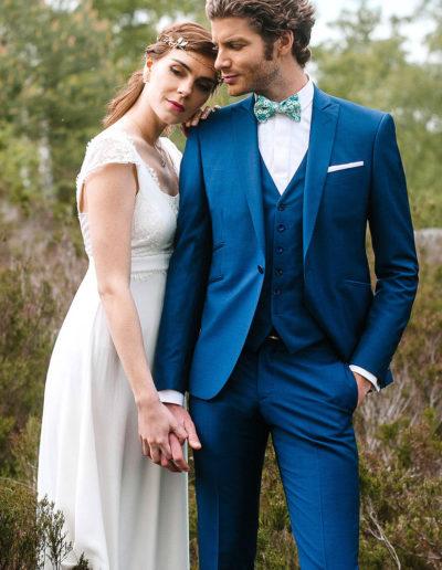 samson sur mesure - Mariage - Costume sur mesure en toile de laine et kid mohair bleu canard Trieste - 1