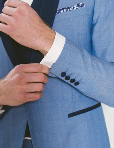 samson sur mesure - Mariage - Smoking sur mesure en toile bleu ciel Syracuse - 4