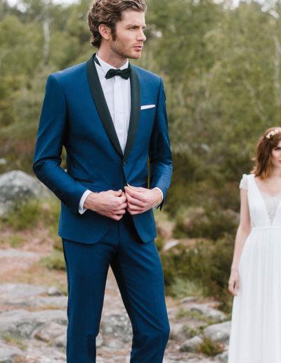 samson sur mesure - Mariage - Smoking sur mesure en toile de laine et kid mohair bleu intense Messine - 1