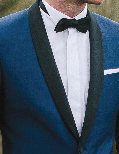 samson sur mesure - Mariage - Smoking sur mesure en toile de laine et kid mohair bleu intense Messine - 2