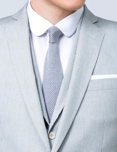 samson sur mesure - Mariage - Veste sur mesure à motif mille raies gris perle Ancone - 2