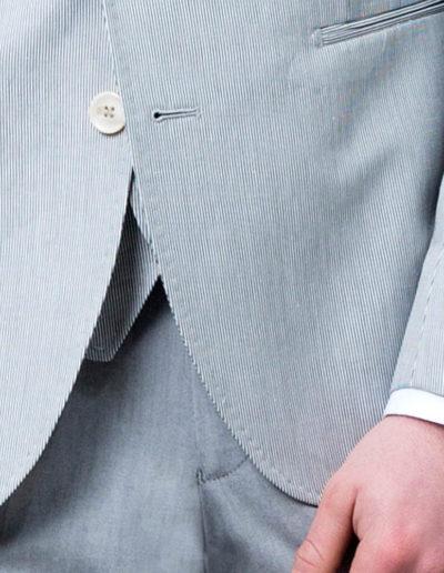 samson sur mesure - Mariage - Veste sur mesure à motif mille raies gris perle Ancone - 3