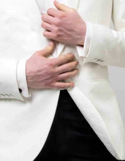 samson sur mesure - Mariage - Veste sur mesure seersucker de coton ivoire col châle Rimini - 3
