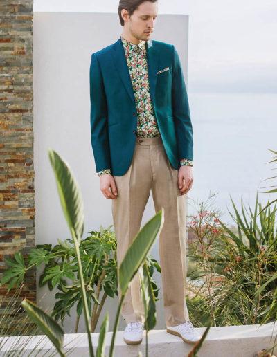samson sur mesure été 2018 - 9 - Veste vert paon sur chemise hawaïenne - Emmet - 1