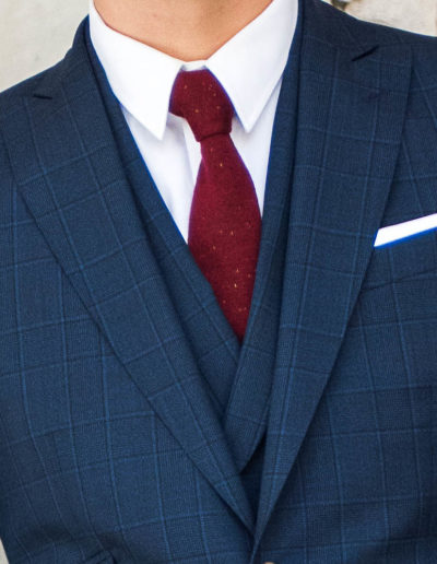 samson sur mesure - Costume 3 pièces prince de galles bleu - Dean - 2