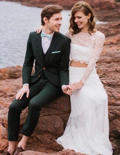 samson sur mesure mariage - Costume 3 pièces vert sapin - Trevise - 1