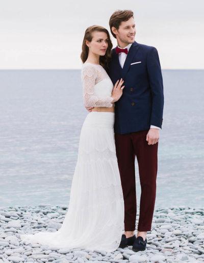 samson sur mesure mariage - Veste croisée bleu sur pantalon grenat- Fiumicino - 1