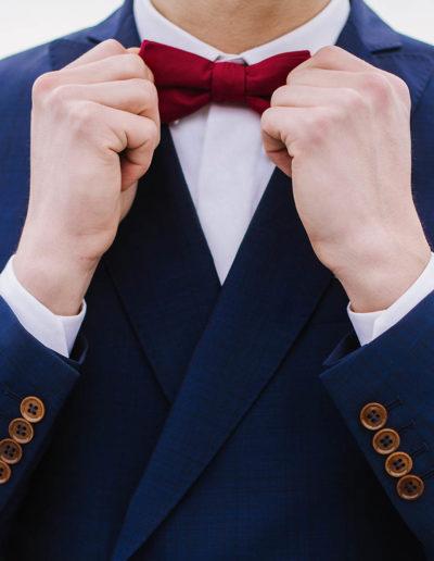 samson sur mesure mariage - Veste croisée bleu sur pantalon grenat- Fiumicino - 3