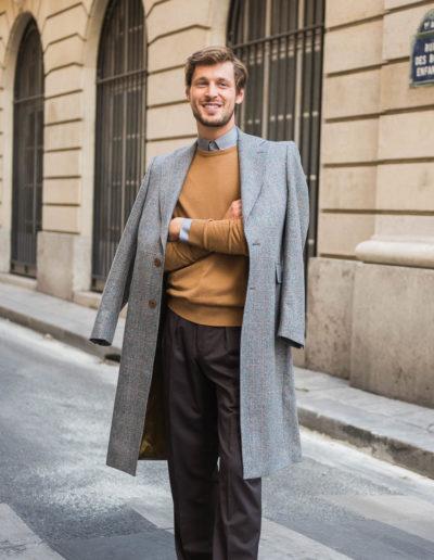 samson sur mesure hiver 2018-19 - M2 - Manteau en drap prince de galles gris - Melvin - 2