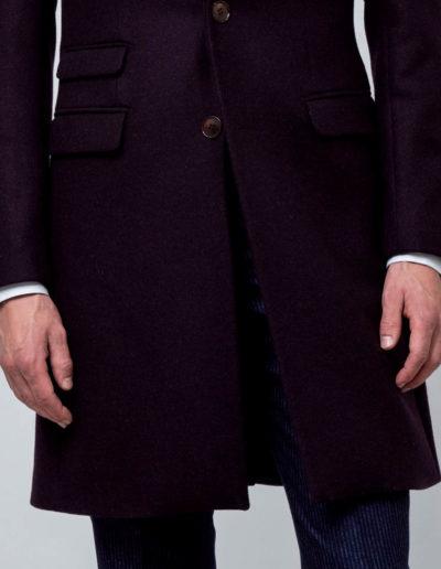 samson sur mesure hiver 2018-19 - M4 - Manteau droit sur mesure drap de laine bordeaux - Maceo - 4